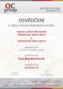 Certifikace E.Bambuchová